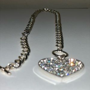Silver Crystal Heart Link & Toggle Necklace